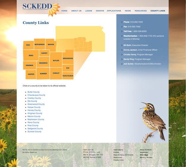 South Central Kansas Economic Development website design website county links page