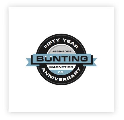 Bunting Magnetics corporate identity 50th anniversary logo design