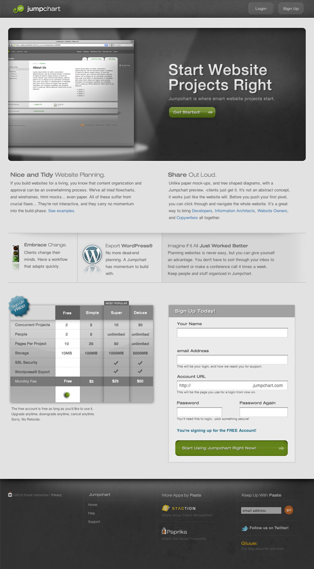 Website Planning Application Homepage Design