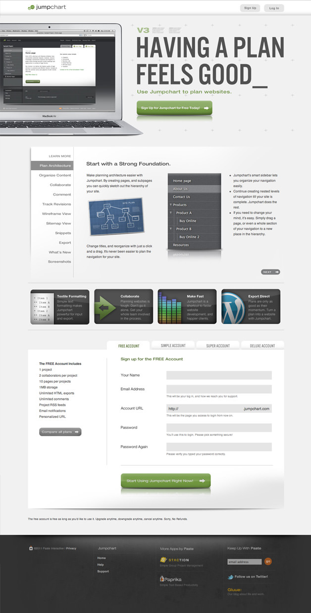 Jumpchart Com Website Planning Application Homepage Design