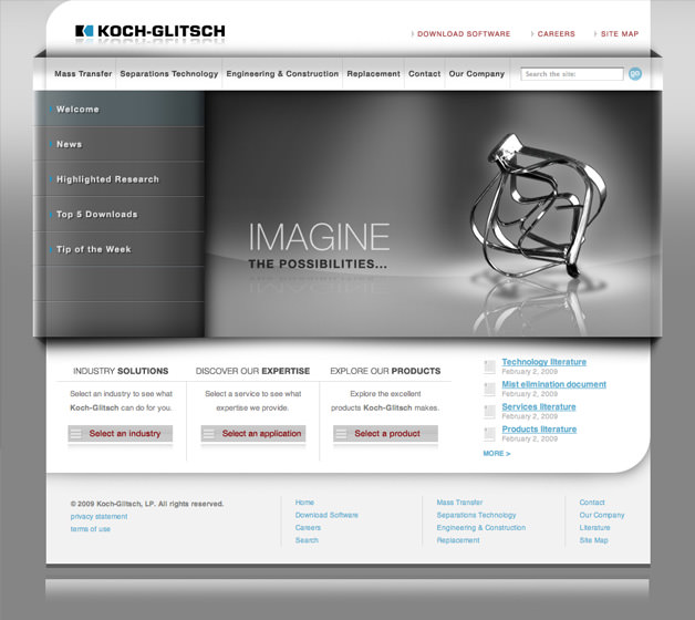 Koch glitsch lp website design for Koch website