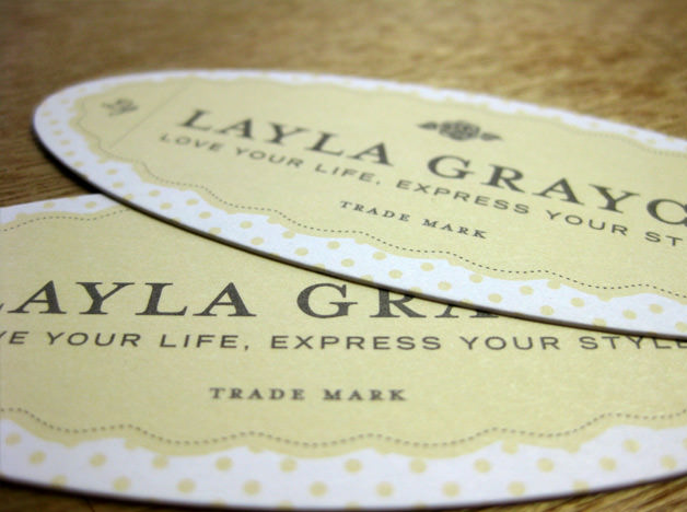 Layla Grayce print design hang tags