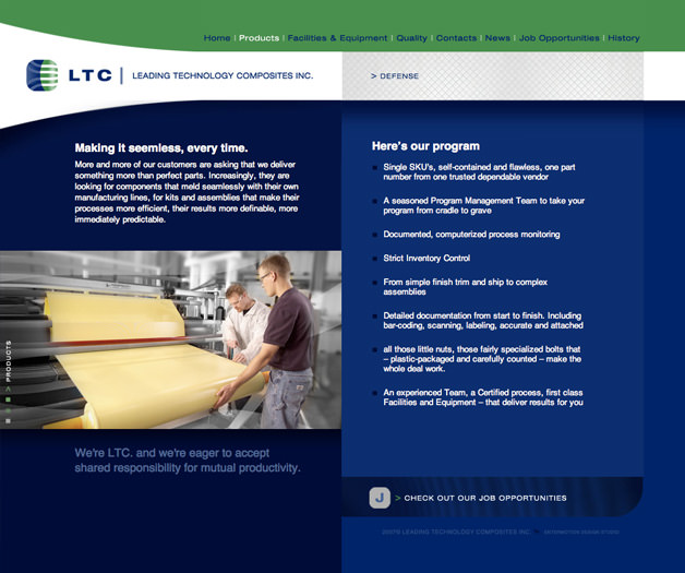 Leading Technology Composites website design web site products page