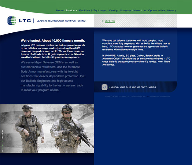 Leading Technology Composites website design web site defense page