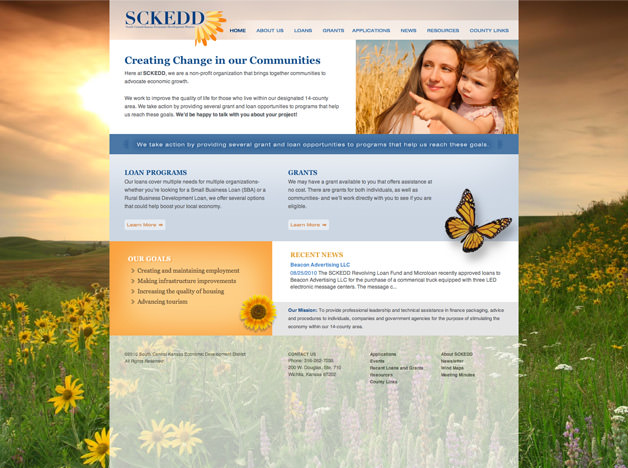 South Central Kansas Economic Development website design website homepage design