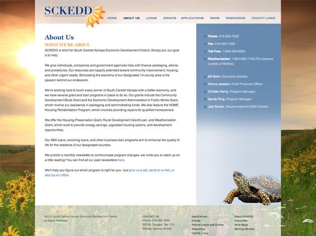 South Central Kansas Economic Development website design website about us page